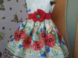 Платья детские и взрослые в украинском стиле,маки,хлопок