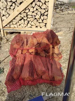 Дрова колотые дуб, граб в сетках по 10 кг